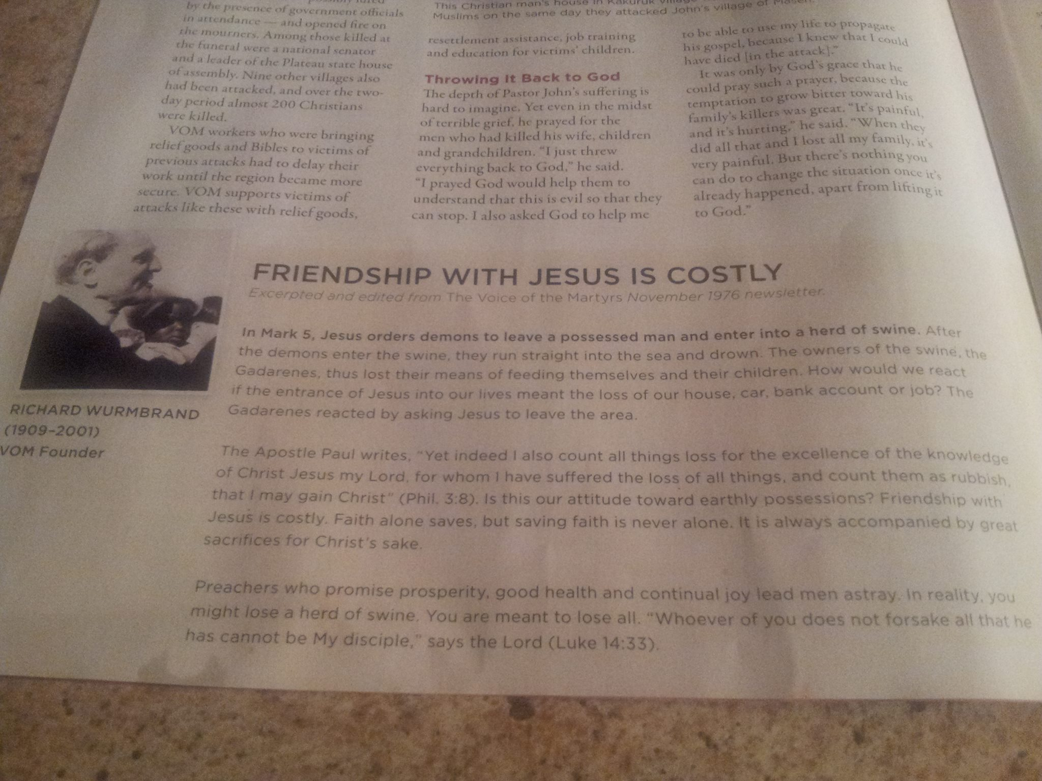 Friendship with Jesus is Costly